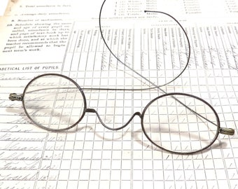 Antique Edwardian Oval Spectacles Eyeglasses Vintage Silver Wire Frame Antique Eye Glasses - FREE Domestic Shipping