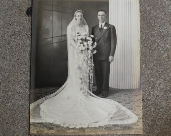 Vintage Antique Photograph Couple Wedding Marriage Man Woman Sepia Mixed Media Altered Art Prop 1930s 1940s