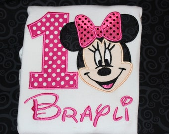 Minnie 1st birthday shirt - baby bodysuit, tshirt, or dress- you pick colors- any number