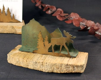 Business Card Holder - Patina Metal and Sand stone - Horse - Moose in Pine Trees