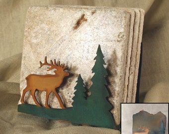 Natural Travertine Coasters w/ Organic Patina Holder - Elk