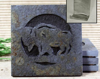 Etched Natural Stone Coaster Set with Holder - Buffalo / Bison on Copper Slate
