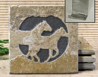 Etched Natural Stone Coaster Set with Holder - Horses / Mustansgs on Buff Slate