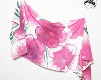 ON SALE 15 OFF Unique Hand Painted  Silk Cotton Summer Sarong Pink Hibiscus Flowers Green Palm White Background Scarf Wrap  Colorfull Beach