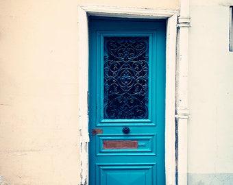 Paris Door Photograph, Teal Blue, Wall Art Print, Montmartre Decor, Peacock Blue, Color Photography, Parisian Home Decor, French Doors