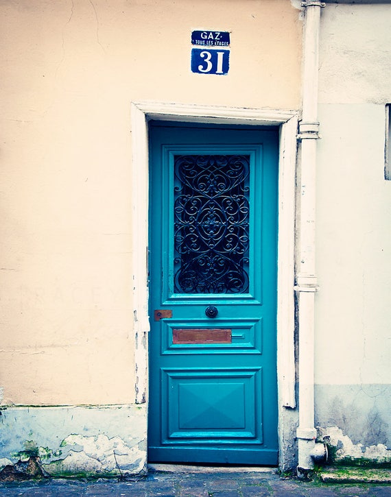 Paris Door Photograph, Teal Blue, Wall Art Print, Montmartre Decor, Peacock Blue, Color Photography, Parisian Home Decor, French Doors