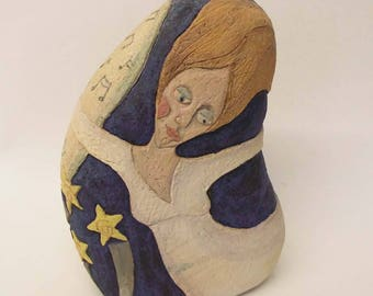 Ceramic sculpture pottery lady with flowing hair