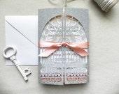 Laser cut Glitter Wedding Invitations