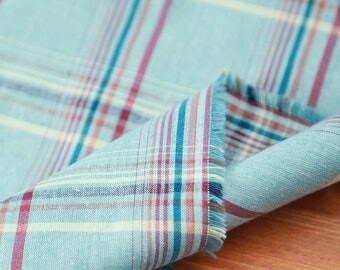 Neat Check on Vintage style BLUE Cotton, U2220