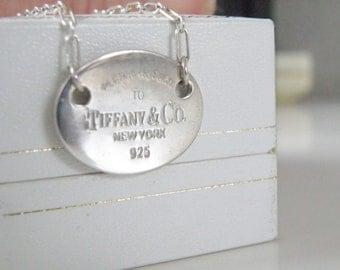 Designer Sterling Silver 925 Handmade Lavalier Tag Necklace
