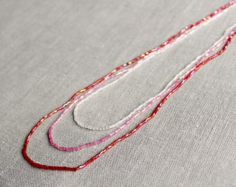 Red, Pink and Silver Beaded Necklace