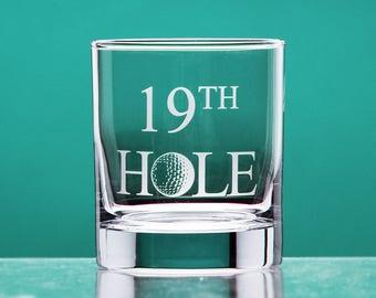 19th Hole whiskey glass - Golf Gift for Men - Golf Gift for Women - Golf Gift for Dad or Mom - Groomsmen Gift - Gift for Golfer - golf