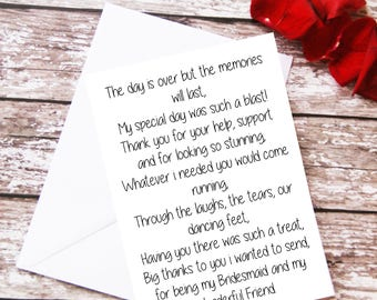 Bridesmaid Thank You Card, Bridesmaid Gift, Bridesmaid Poem Card, Wedding Poem, For Her, Wedding Party Maid Of Honor Flower Girl Best Friend