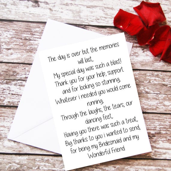 Wedding Gift For Friend Female: Items Similar To Bridesmaid Thank You Card, Bridesmaid