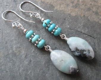 Amazonite & Turquoise Earrings - Chakra/Metaphysical/Boho Jewelry