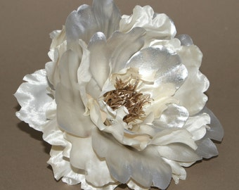 Metallic Cream and Silver Peony  -Boutique Silk Flowers, Artificial  Flower Heads - PRE-ORDER