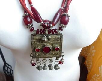 Antique Yemen Yemeni Talisman Prayer Box Necklace, Trade Beads, OOAK. tribal ethnic necklace