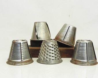 5 Salvaged Cylinder Food Vegetable Cutter Shredder Slicer Blades Vintage Kitchen Repurpose Lamp Shade