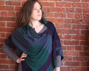 100 percent cashmere - gauzy lightweight - spring poncho- patchwork- block color- green blue purple- one size - eco friendly