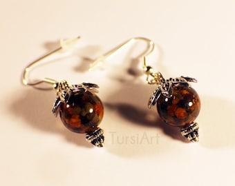 Bee Pollen Earrings - Real Honey Bee Pollen in Resin,  silver dangle earrings, Ambrosia, Bee Bread Earrings & jewelry by TursiArt