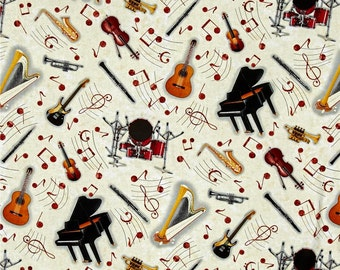 Last Piece - 30 inches - Blank Quilting - Sounds of Music - Tossed Instruments - Ivory Music Theme Fabric by the yard 8382-041