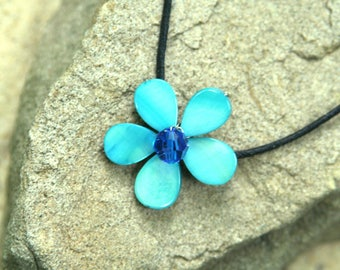 Lanikai Blue Swarovski Crystal & Mother of Pearl Flower Necklace