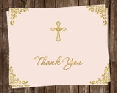 Religious Thank You Cards, Pink, Gold, Glitter, 24 Folding Notes, FREE Shipping, EMCBL, Embellished Corners Cross Girls