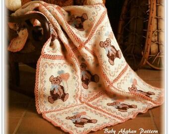 Baby Afghan Crochet Pattern - Teddy Bears - PDF CR176505