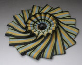 Gold Taupe Blue and Black Wheel Cocarde Applique