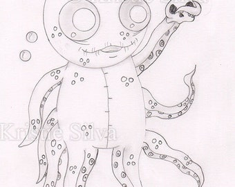 Unlucktapus Original Drawing by Kristie Silva big eyed monster creature