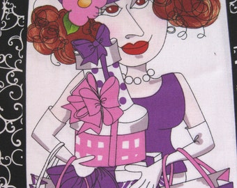 Loralie Gone Shopping Stylish Lady purple dress one block quilt fabric I am destashing my craft room check out my other fabrics