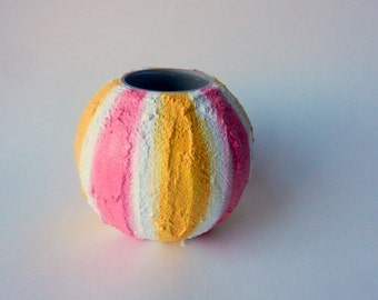 Striped small round  Vase / Glass and Concrete painted vase / seashell inspired / beach decor