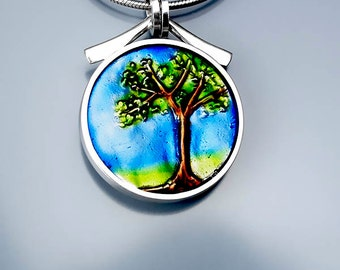 Ivy Woodrose sterling silver, PMC, and resin enamel tree pendant