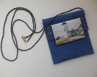 Blue Textile Pouch Lighthouse Necklace, Edward Hopper Painting, Fiber Fabric Necklace, Fiber Art Necklace
