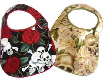 Skulls and Roses Baby Bibs - set of 2 bibs