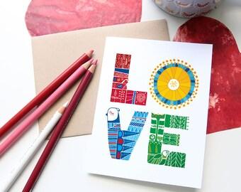 Love birds, Valentine's Day Card, Swedish folk art, Hand lettered, Scandinavian, red, white, birds, flowers