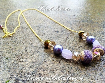 Handmade Gold and Purple Necklace - Long Purple Necklace - Long Gold Necklace - Bohemian Necklace - Bohemian Jewelry - Gypsy - Whimsical