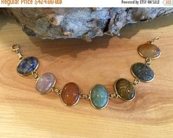 2017 New Years SALE Beautiful Art Deco Multi Stone Carved Sacarb Egyptian 14kt Gold Stone Vintage Bracelet