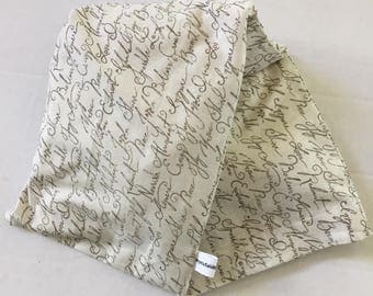 Hot/Cold Rice or Flax Seed Bag - Handwriting Script of Positve Words in Neutral Color