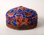 Traditional Uzbekistan unique hat, skull cap, blue hat, cap, bohemian style, unique hat, adorable hat, Fully handmade embroidey, boho chic