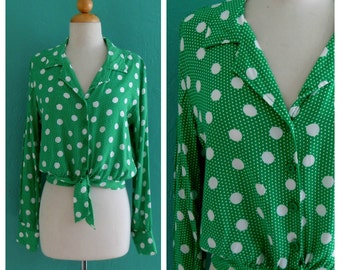 70's green polka dot cropped tie top ~ small medium