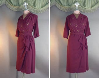 40s dress 1940s vintage WINE RED BEADED colorful sequins studs rayon crepe side flourish draped cocktail dress
