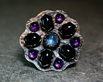 Sterling Silver Multistone Statement Ring, Chunky Blue Moonstone Flower Ring, Boho Style Jewelry