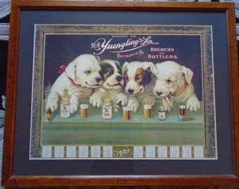 "Yuengling & Son Brewers  33/14"" X 26 1/2""  Professionally  Framed Four Dog Print Man Cave Worthy"