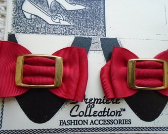 Shoe Clips   Red Folded Grosgrain ribbon  Gold Metal Buckle FREE SHIPPING