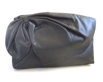 Vintage Albi Black Gathered Leather Bow Clutch