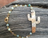 Saguaro cactus bracelet mixed metal jewelry jasper beads handmade jewelry desert dweller nature inspired jewelry southwest style cactus