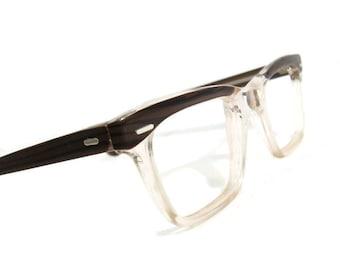 Vintage Mens Womens Woodgrain Clear Hornrim Eyeglasses Eyewear Frame NOS