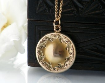 Victorian Locket | Gold Shell Antique Locket Necklace | Wightman & Hough | Belle Epoque | Monogrammed Round Gold Locket - 24 Inch Long Chain