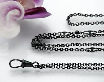 Edwardian Guard Chain | Long Antique Chain | Ornate Link Black Gunmetal Chain & Black Fob Clip | Black Sautoir - 34 Inch Necklace Chain